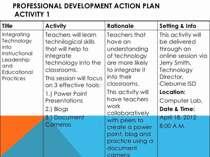 Professional Development Plan Sample for Teachers Unique Action Plan[1]
