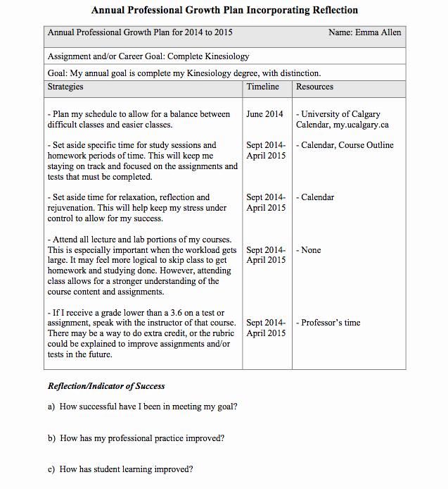 Professional Development Plan Sample for Teachers Unique Emma S Portfolio