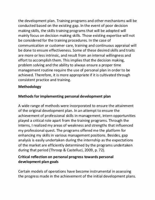 Professional Development Plan Sample Fresh Personal and Professional Development Plan Sample Essay