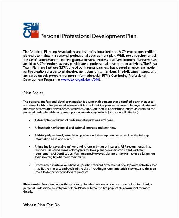 Professional Development Plan Sample New Professional Development Plan Sample 13 Examples In