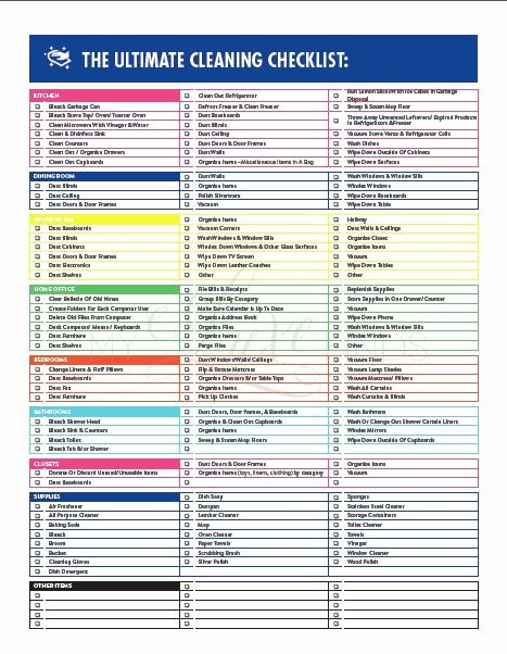 Professional House Cleaning Checklist Printable Awesome the Ultimate House Cleaning Checklist Printable Pdf
