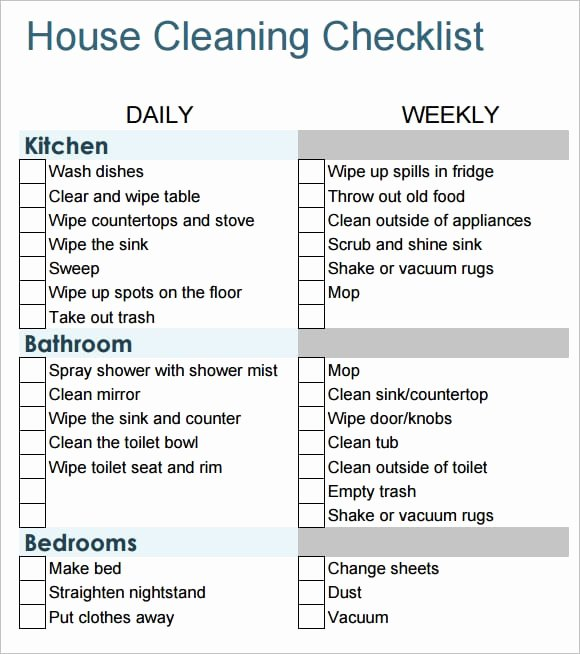 Professional House Cleaning Checklist Printable Beautiful 6 House Cleaning List Templates Word Excel Pdf Templates
