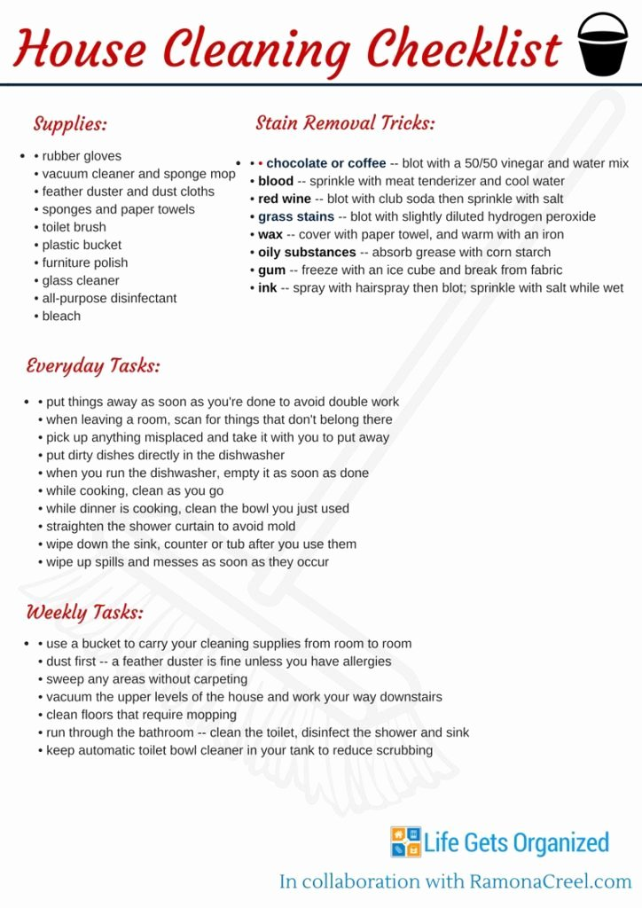 Professional House Cleaning Checklist Printable Fresh Checklist for Cleaning Houses