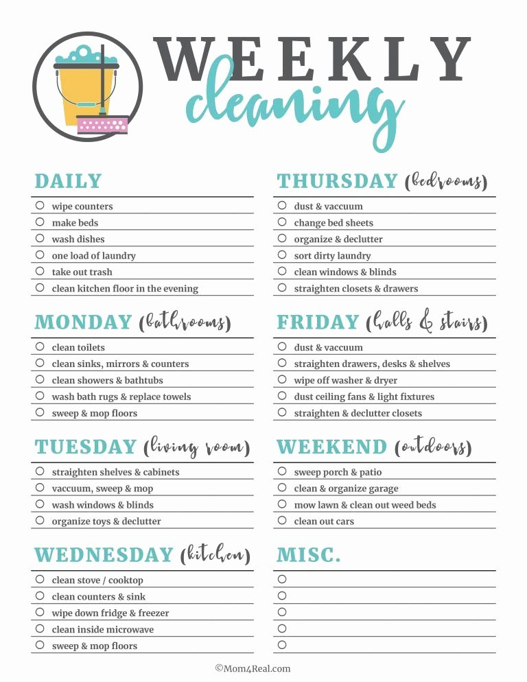 Professional House Cleaning Checklist Printable Inspirational Printable Cleaning Checklists for Daily Weekly and