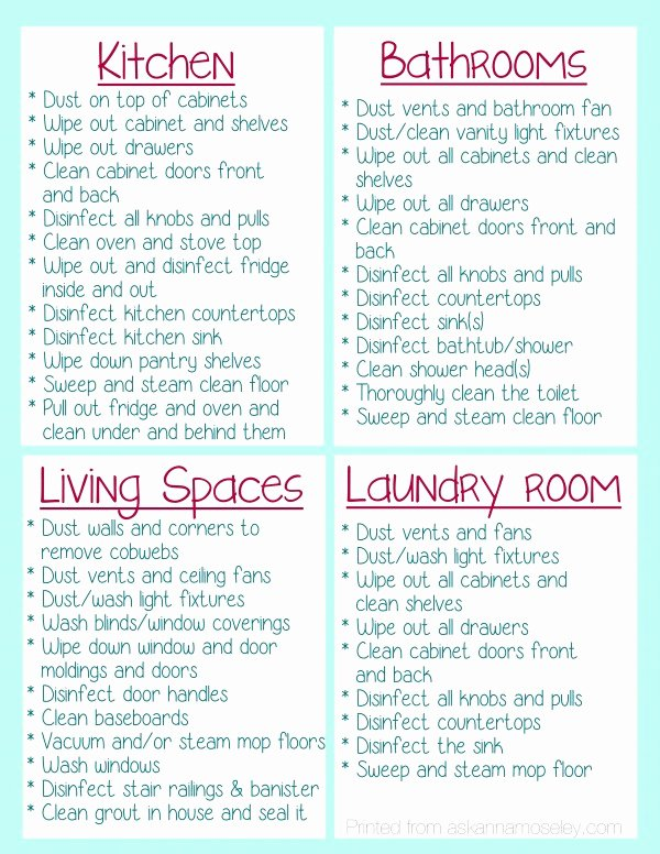 Professional House Cleaning Checklist Printable Lovely Clean Your House before You Move In Free Printable ask