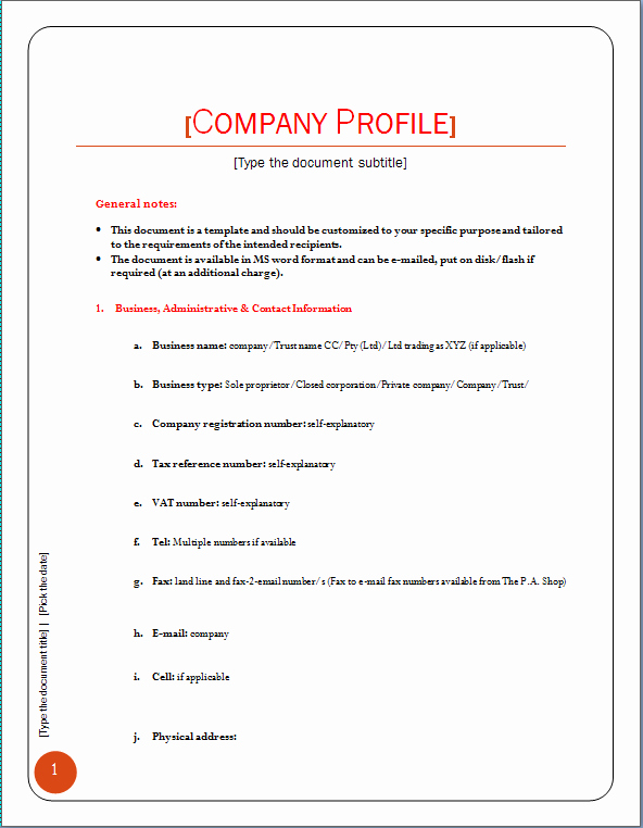 Profile Template Word Inspirational Pany Profile Template
