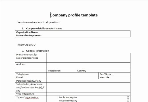 Profile Template Word Luxury Pany Profile Templates Word Excel Samples