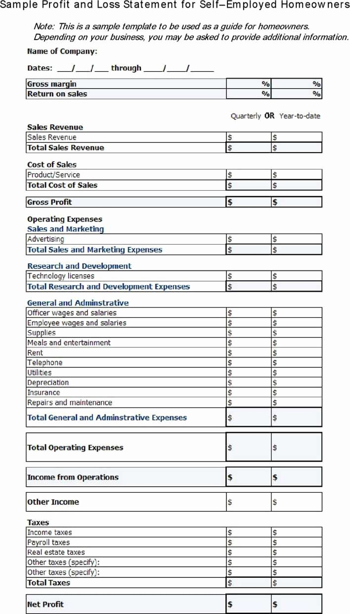 Profit and Loss Template for Self Employed Best Of Download Profit and Loss Statement for Self Employed