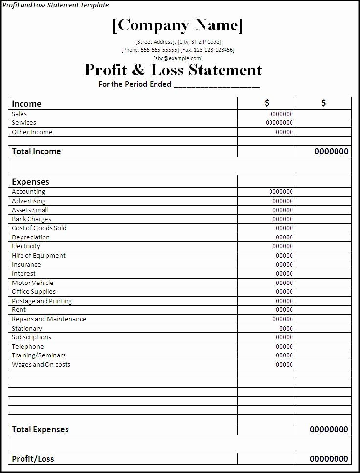 Profit and Loss Template for Self Employed Inspirational Profit and Loss Statement Template