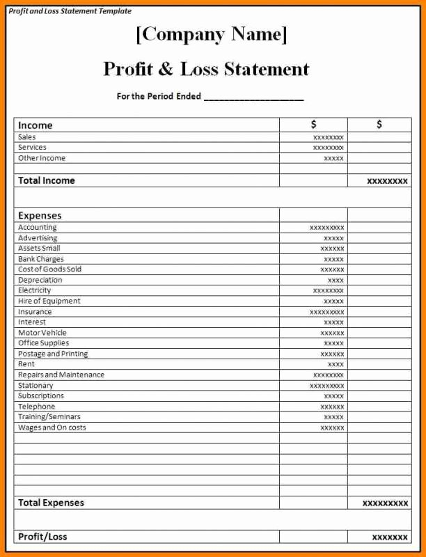 Profit and Loss Template for Self Employed Lovely Blank Profit and Loss Statement Pdf