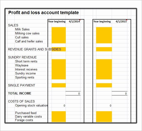 Profit and Loss Template for Self Employed Luxury Profit and Loss Template 20 Download Free Documents In