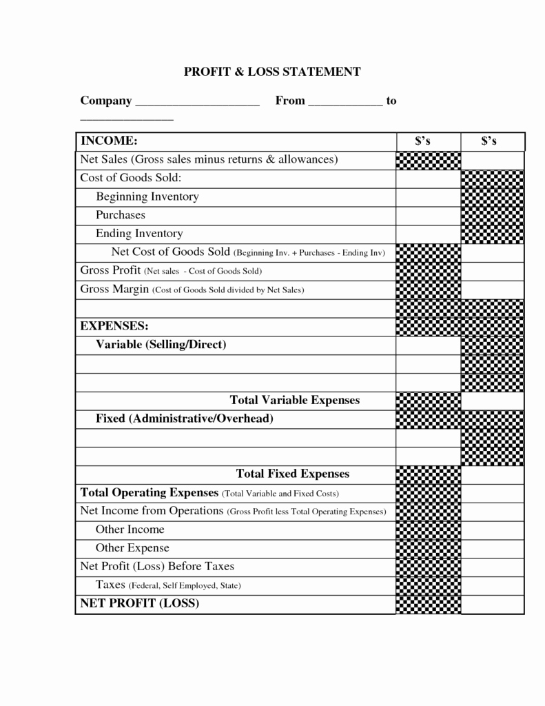 Profit and Loss Template for Self Employed Unique Profit and Loss Template for Self Employed