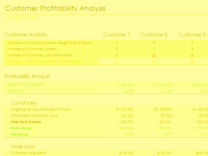 Profitability Analysis Template Best Of Download Customer Profitability Analysis with Summary