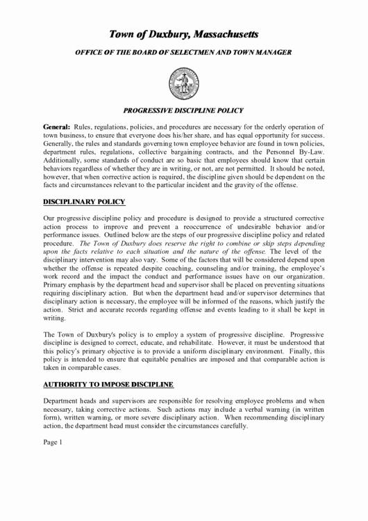 Progressive Discipline form Template Best Of town Duxbury Verbal Warning form Printable Pdf