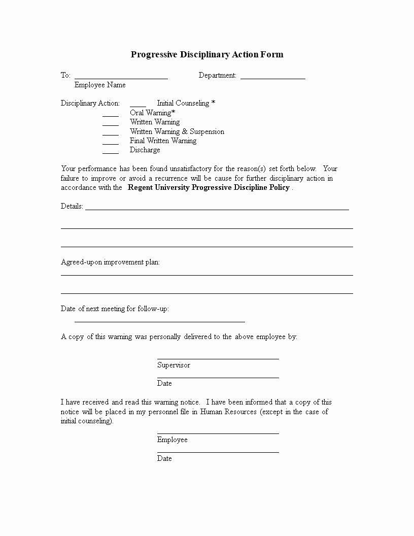 Progressive Discipline form Template Lovely Disciplinary Action form Template Employee Write Up