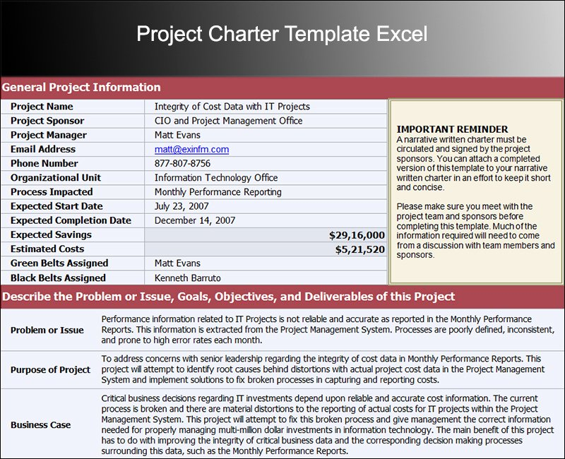 Project Charter Template Excel Awesome 8 Project Charter Templates Free Word Pdf Excel formats