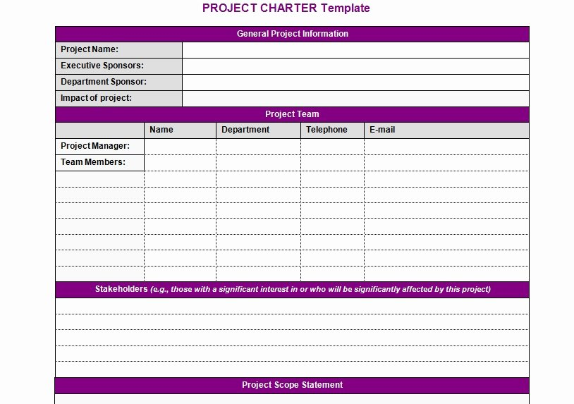 Project Charter Template Excel Best Of Project Charter Template