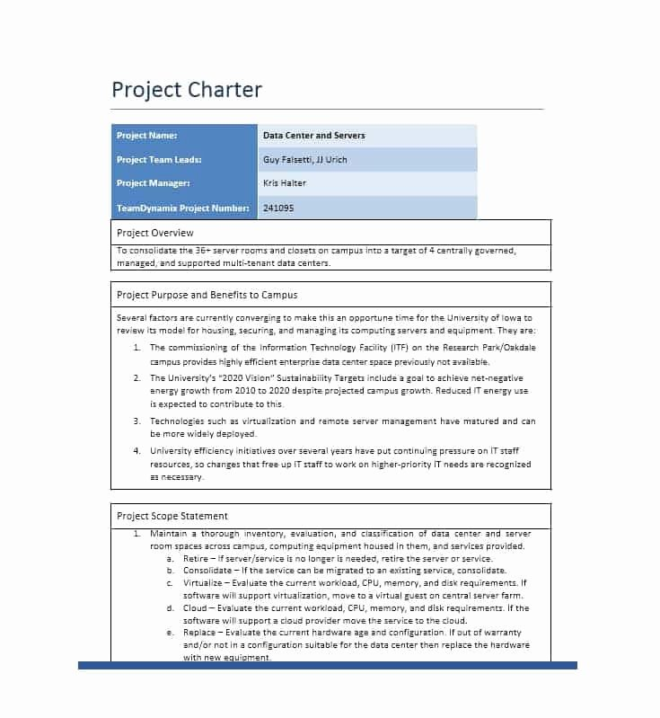 Project Charter Template Excel Lovely 10 Project Charter Templates
