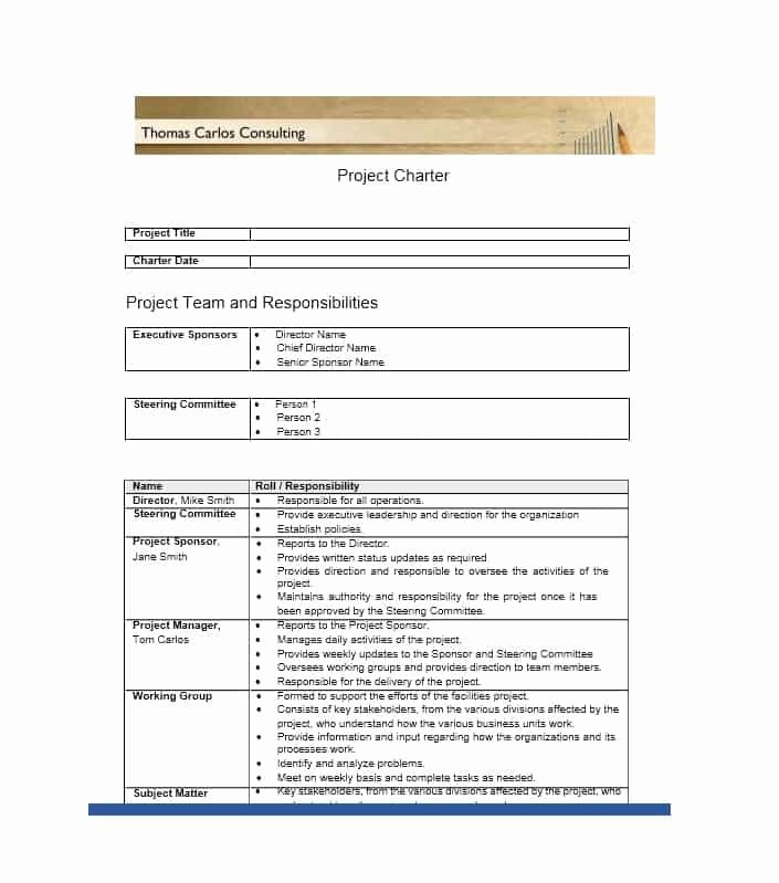 Project Charter Template Excel New 10 Project Charter Templates