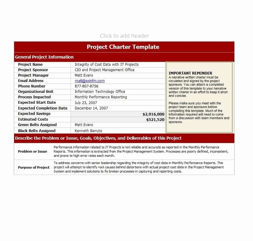Project Charter Template Excel Unique 40 Project Charter Templates & Samples [excel Word