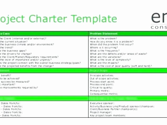Project Charter Template Excel Unique Project Charter Project Management Skills
