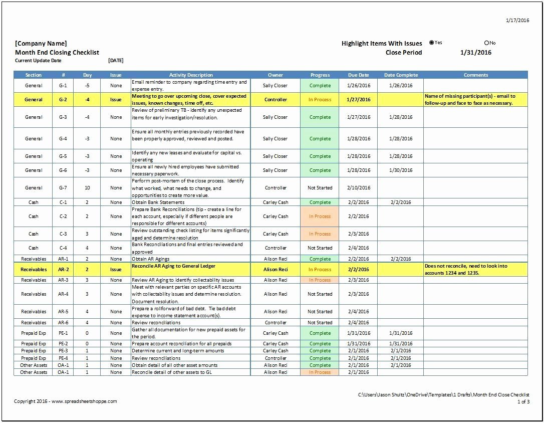 Project Closeout Checklist Sample Lovely Month End Close Checklist Spreadsheetshoppe
