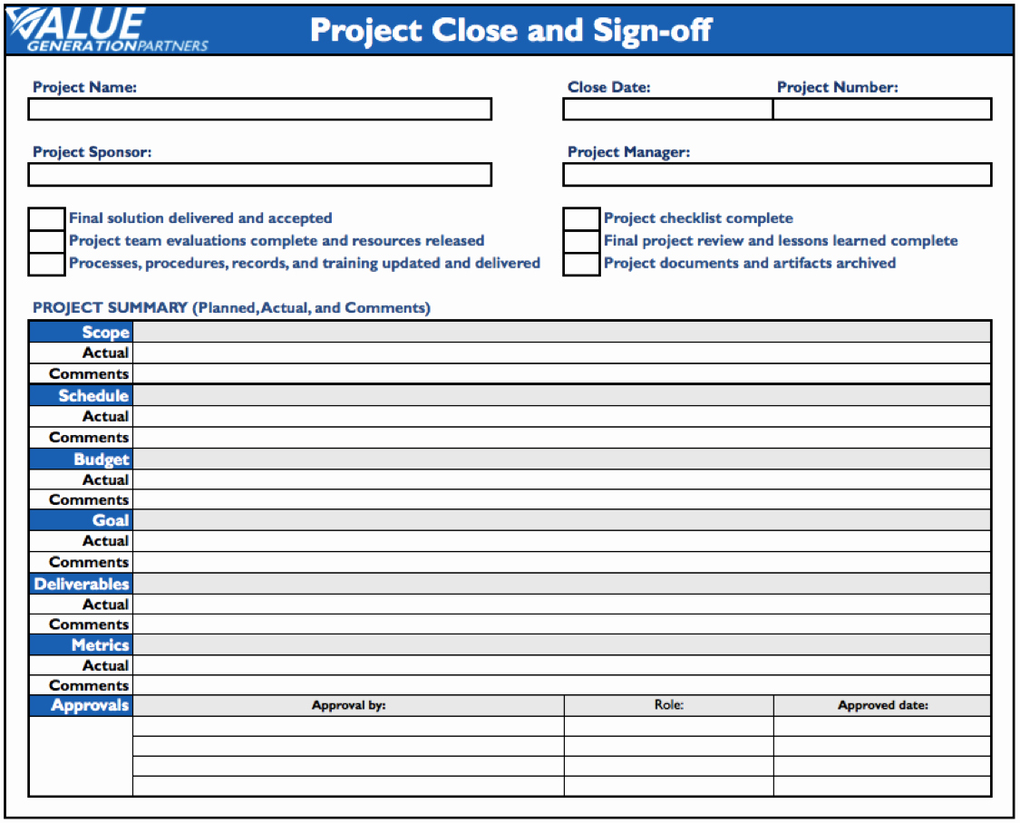Project Closeout Checklist Sample Luxury Generating Value by Conducting Project Close – Value