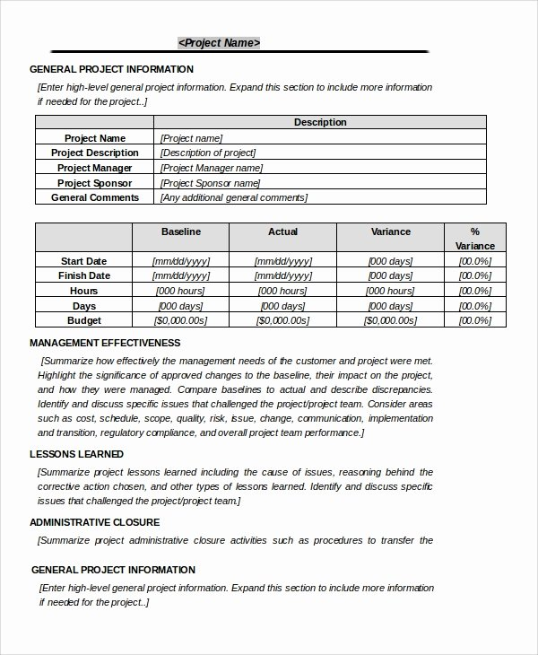 Project Closeout Report Example Fresh Sample Project Closeout 7 Documents In Pdf Word