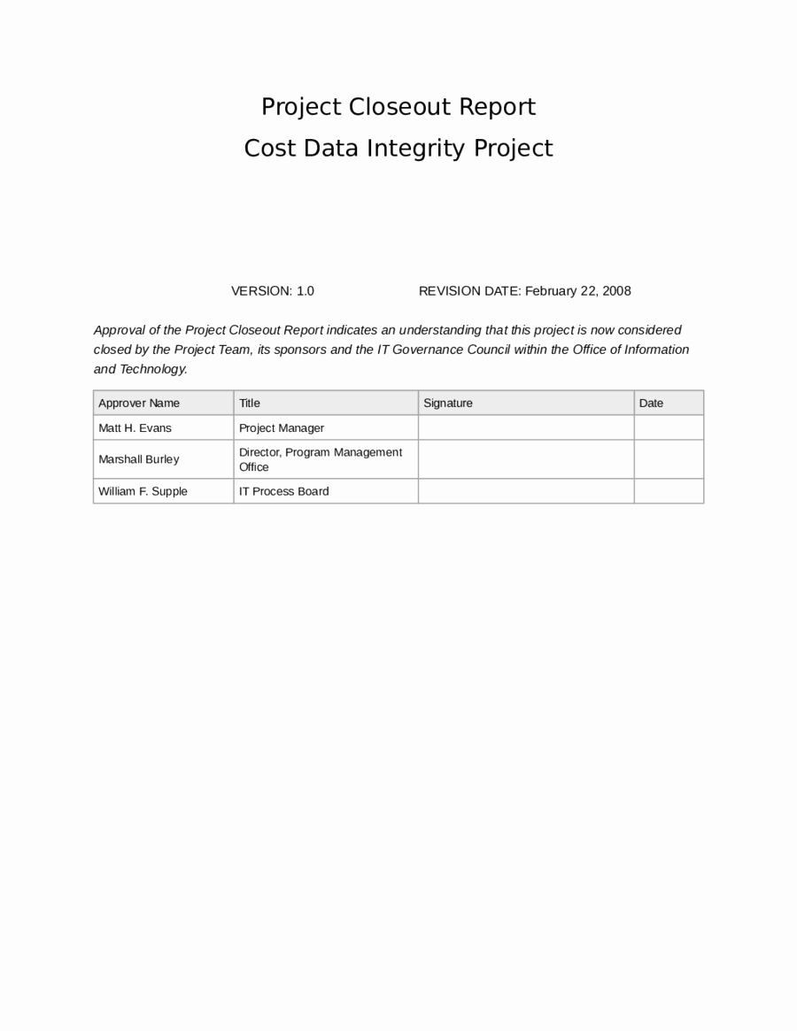 Project Closeout Report Example Inspirational Project Closeout Reportcost Data Integrity Project Edit