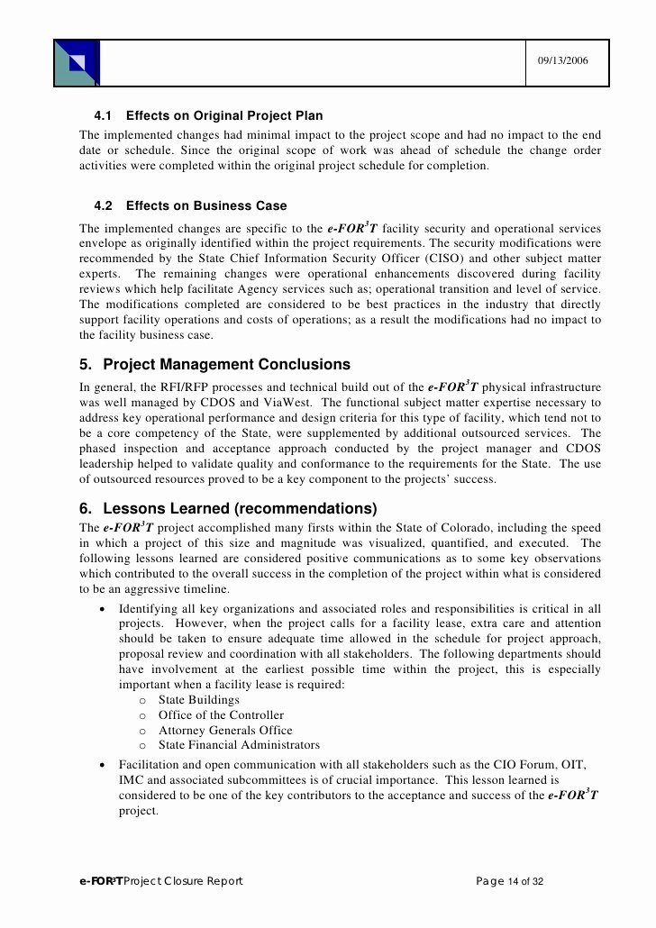 Project Closeout Report Example Inspirational Project Pletion Report