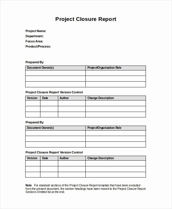 Project Closeout Report Example Unique 32 Report Templates Free Sample Example format