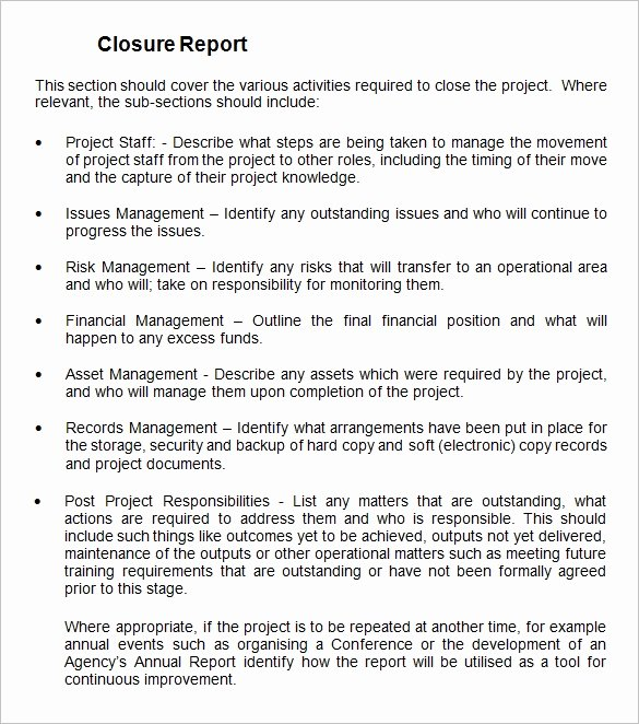 Project Closeout Report Template Awesome Project Closure Report Template 9 Free Word Documents