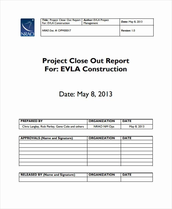 Project Closeout Report Template Best Of 26 Project Report formats Word Pdf Docs