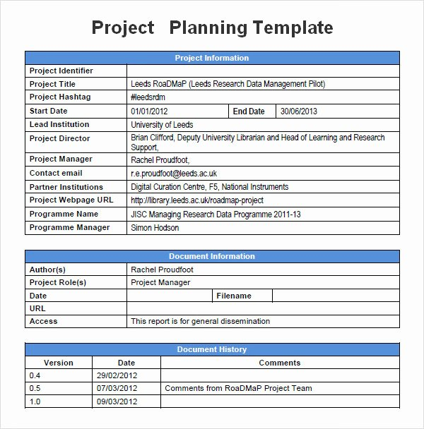 Project Data Sheet Template Elegant Sample Project Plan Template