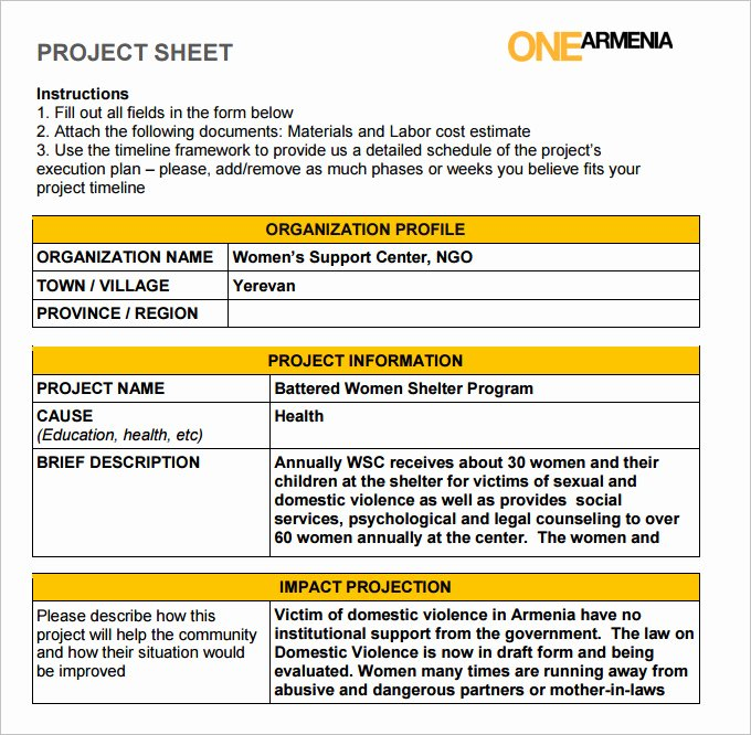 Project Data Sheet Template Fresh Project Sheet Template Zamhari