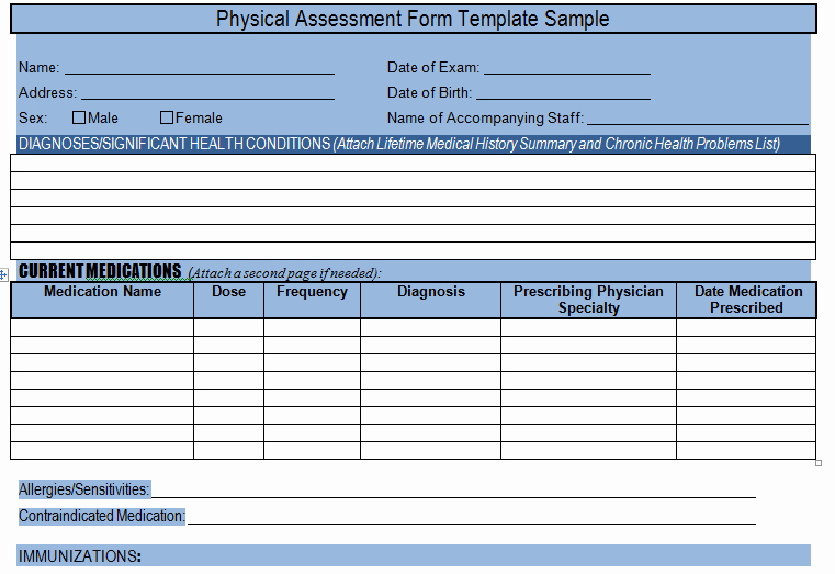 Project Information Sheet Template Best Of Get Physical assessment form Template Sample – Project