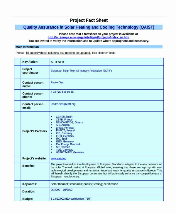Project Information Sheet Template Elegant 28 Fact Sheet formats