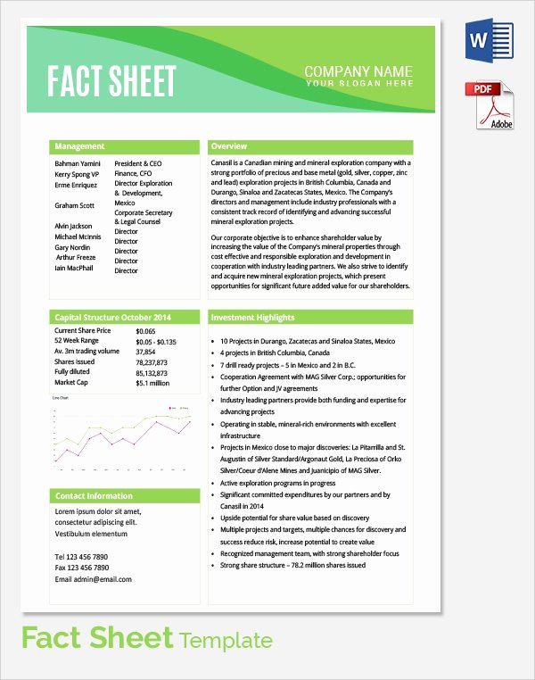 Project Information Sheet Template Fresh Sample Fact Sheet Template 14 Free Download Documents