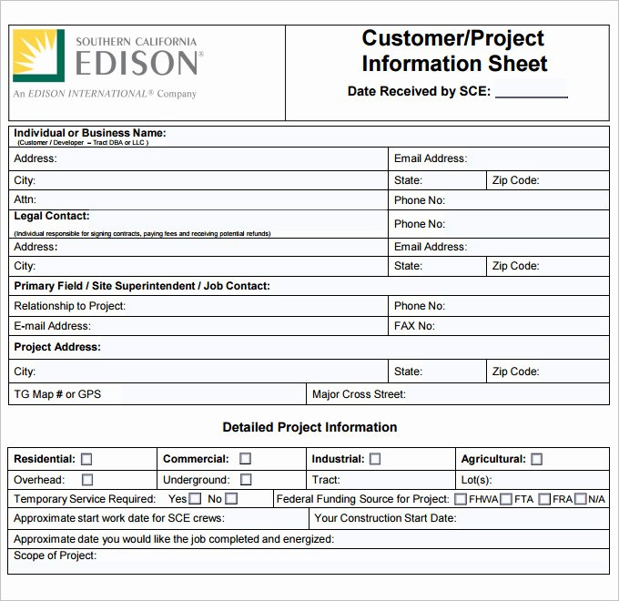 Project Information Sheet Template New Project Sheet Template 7 Free Pdf Documents Download