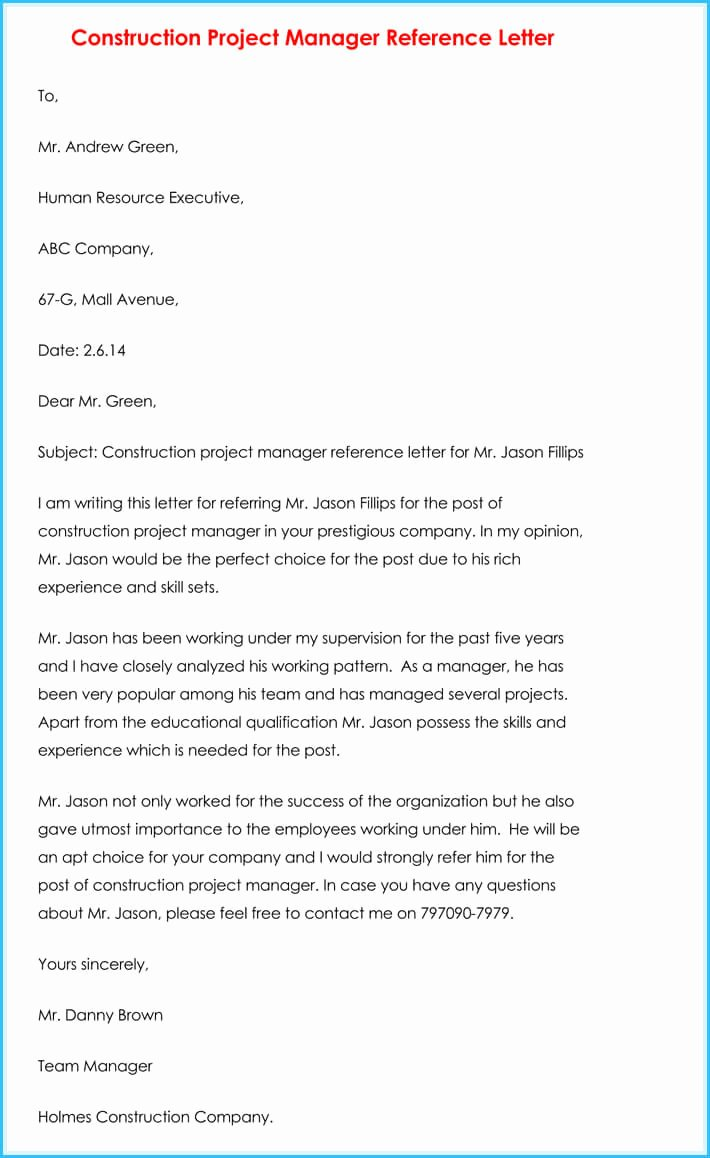 Project Recommendation Template Awesome Manager Reference Letter 7 Samples to Write Manager Job