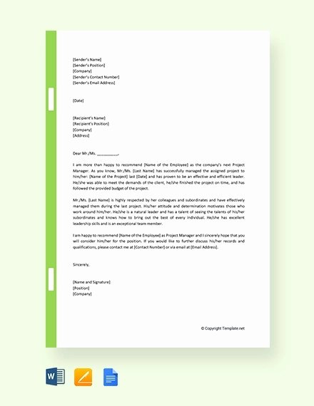 Project Recommendation Template Inspirational 11 Promotion Re Mendation Letters Free Sample