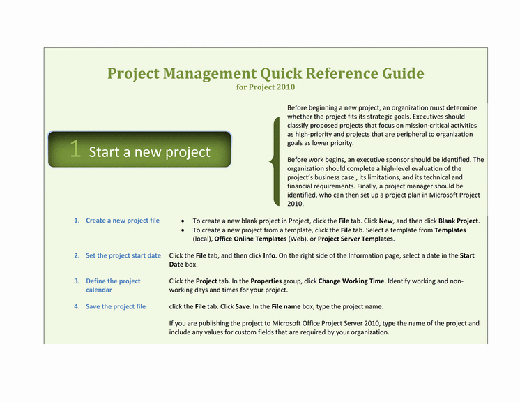 Project Recommendation Template Inspirational Download Project 2010 Quick Reference Guide Template for