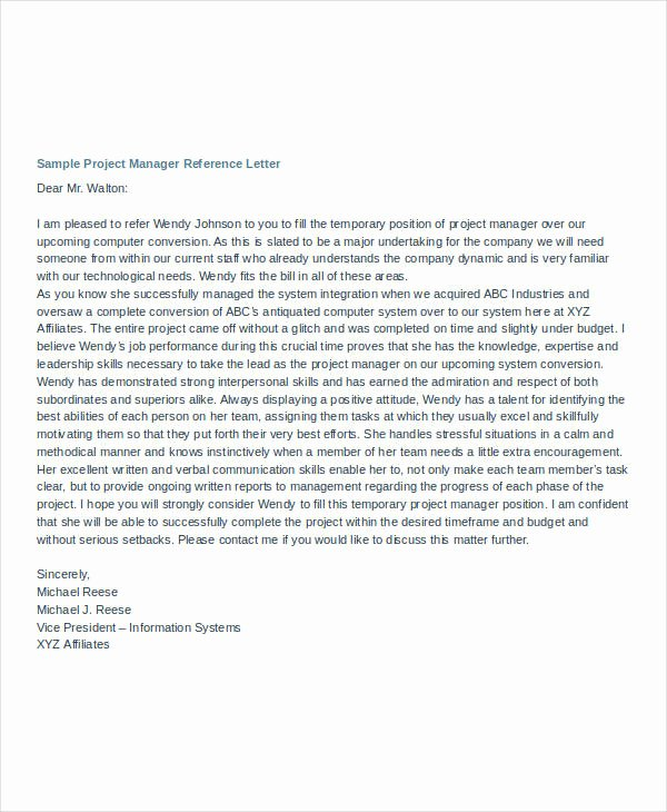 Project Recommendation Template Inspirational Manager Reference Letter Templates 7 Free Word format