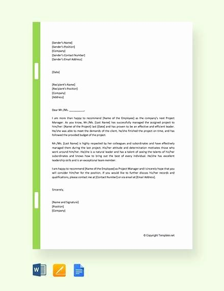 Project Recommendation Template Lovely 11 Sample Promotion Re Mendation Letter Free Sample