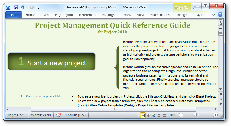 Project Recommendation Template Lovely Getting Started with Microsoft Project 2010