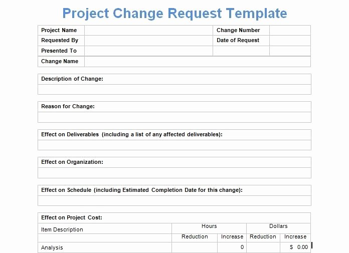 Project Request form Template Elegant Project Change Request Template Exceltemple