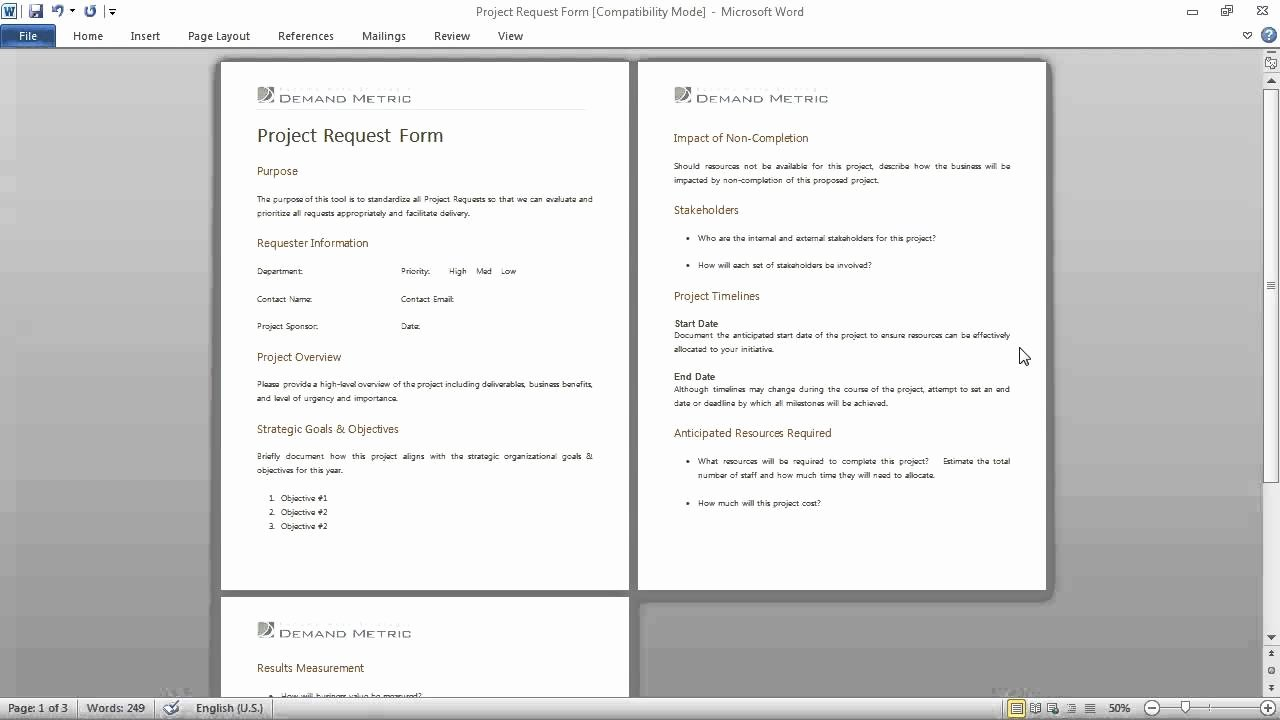 Project Request form Template Fresh Project Request form Template