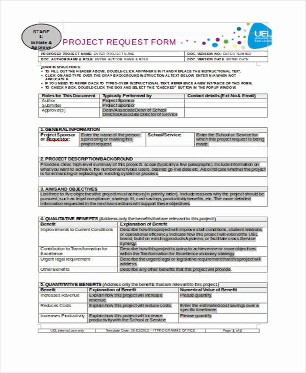 Project Request form Template Fresh Request form Template