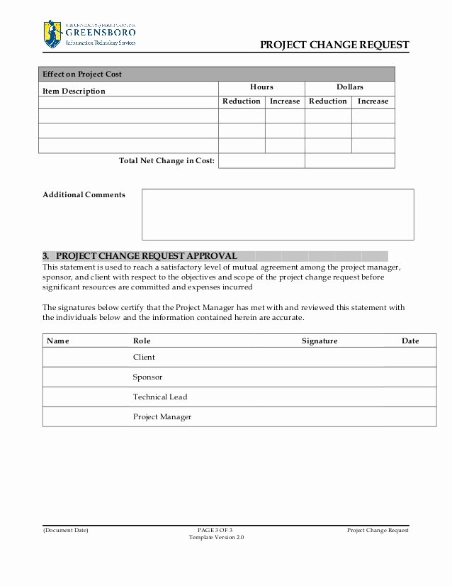 Project Request form Template Inspirational Project Change Request Template V2 0