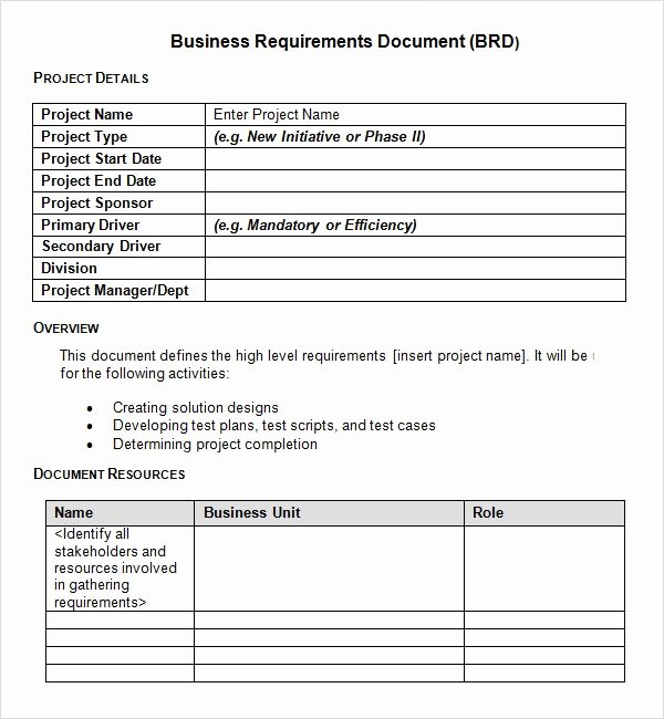 Project Requirements Document Example Beautiful Sample Business Requirements Document – 6 Free Documents